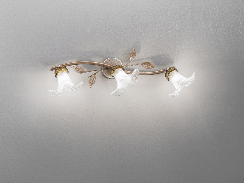 Plafoniera Da Esterno Ruggine : 17358 faretto 3 luci floreale fiore foglie color ruggine